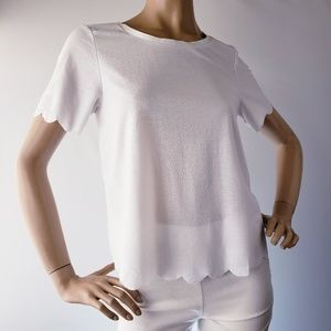 Topshop White Scalloped Edge Semi Sheer Top